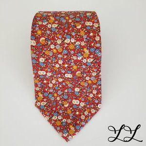 Lauren Ralph Lauren Tie Red Gold Blue Floral Silk